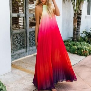 Pleated Rainbow Ombre Gradient Halter Maxi Dress L